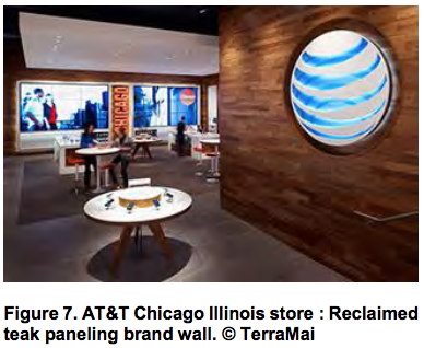 AT&T Chicago Illinois store Reclaimed teak paneling brand wall