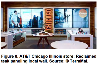 AT&T Chicago Illinois store Reclaimed teak paneling local wall