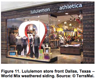 Lululemon store front Dallas, Texas – World Mix weathered siding